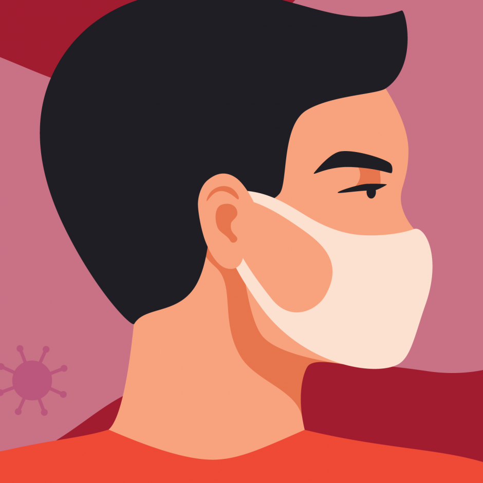 Illustration of a person wearing a mask